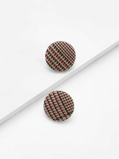 Houndstooth Design Stud Earrings