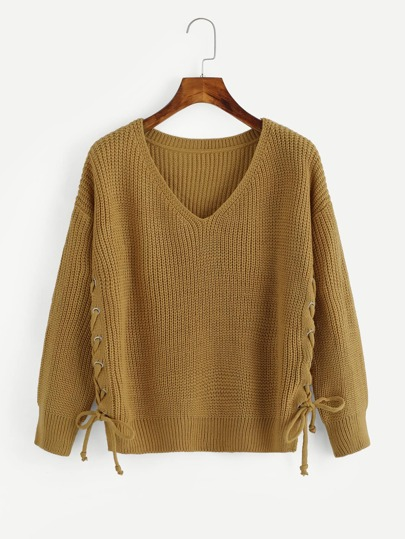 V Neckline Eyelet Lace Up Side Knit Sweater