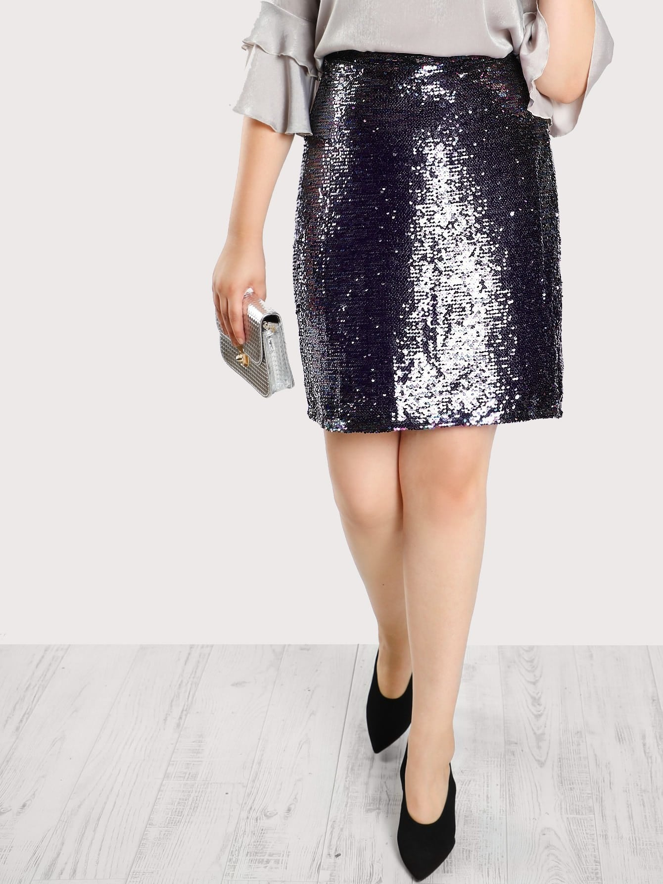 Image of Multi Sequined Skirt