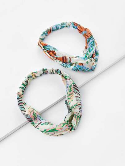 Leaf Print Twist Headband