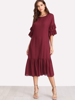 Ruffle Sleeve And Hem Dress