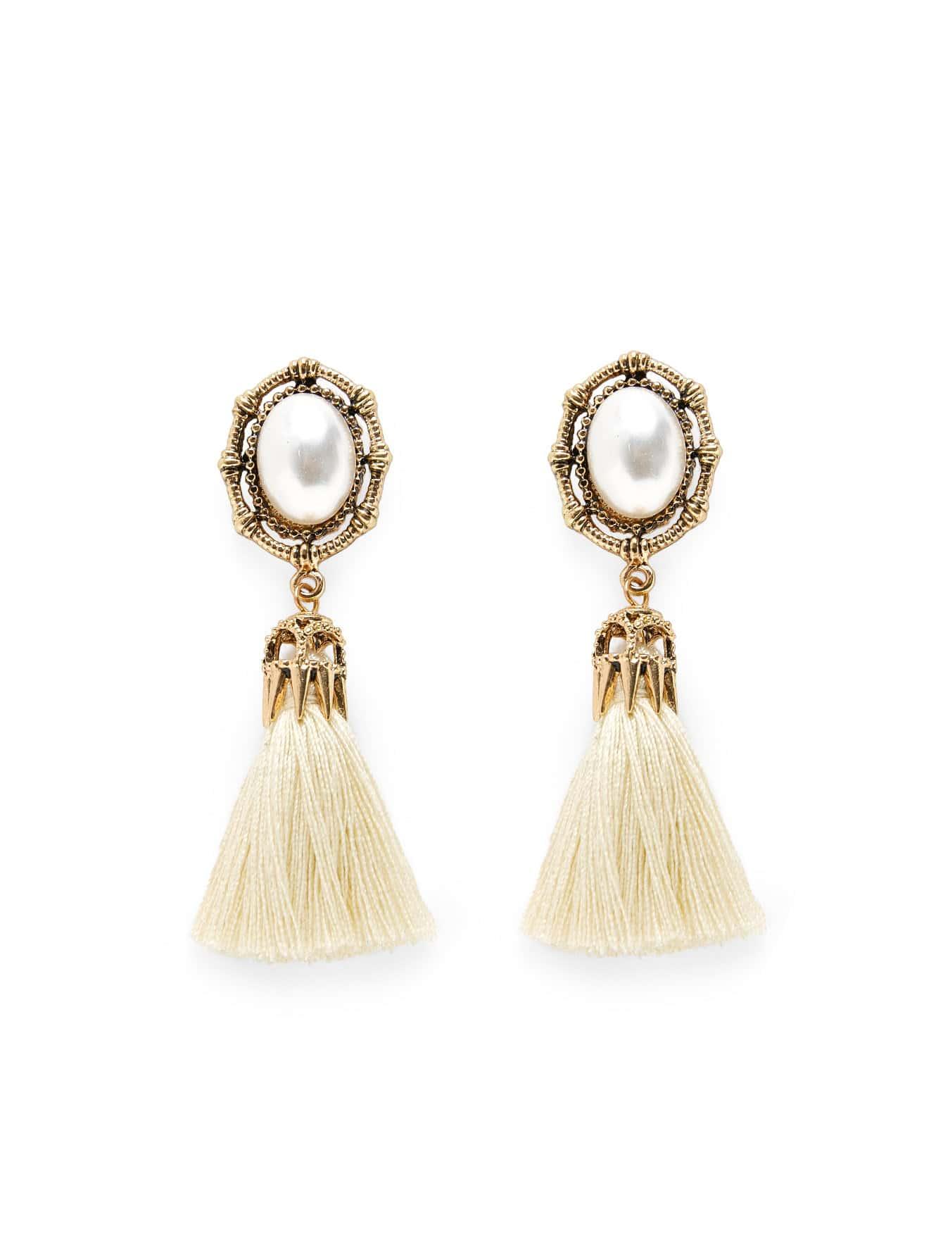 Faux Pearl Top Tassel Drop Earrings lace faux pearl tassel drop earrings