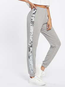 Velvet Panel Side Heather Knit Sweatpants