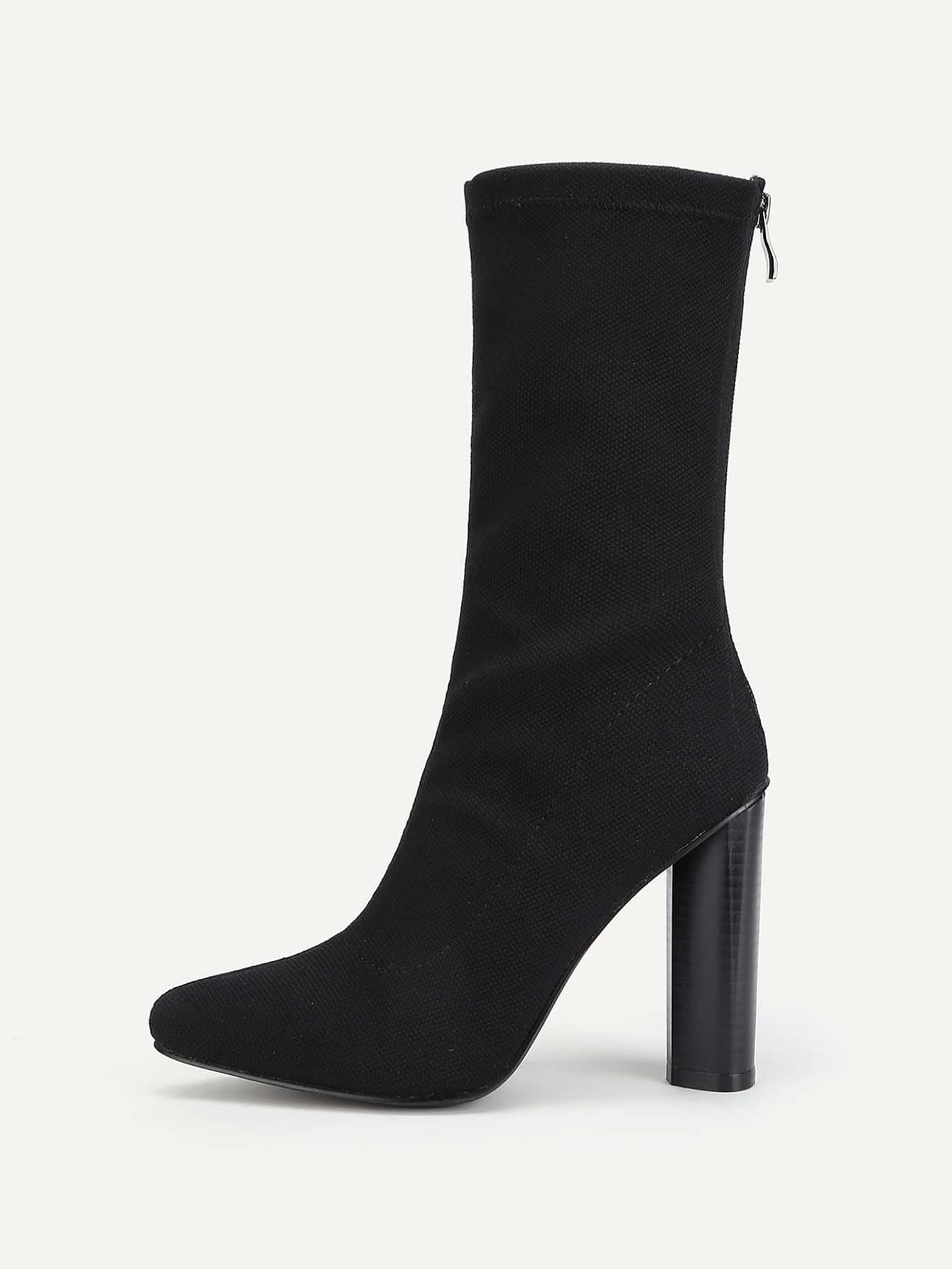 Block Heeled Pointed Toe Mid Calf Boots