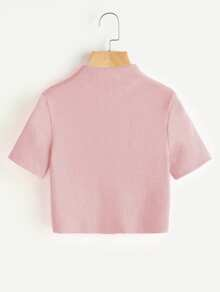 High Neck Ribbed Crop Sweater ROMWE