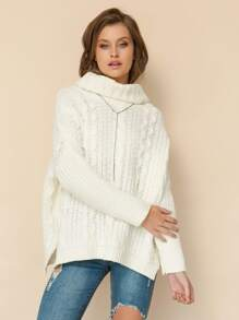 Turtleneck Chunky Cable Knit Sweater