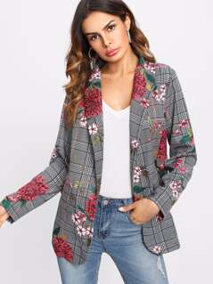 Faux Pocket Detail Floral And Plaid Blazer