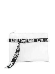 Slogan Strap Clutch Bag