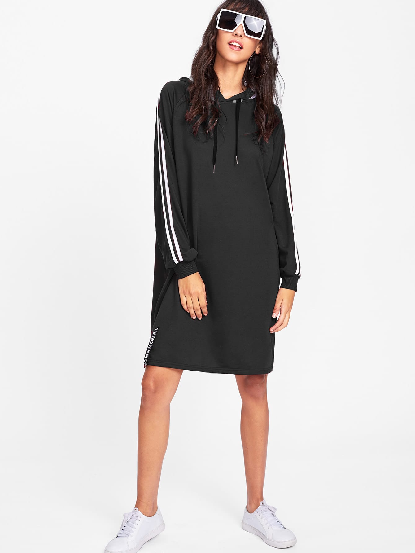 Tape Trim Letter Ribbon Detail Raglan Hoodie Dress two tone letter tape detail hooded jacket