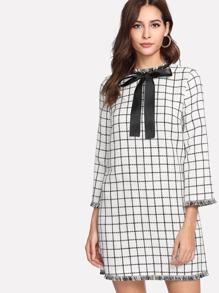 Tie Neck Frayed Trim Grid Tweed Dress