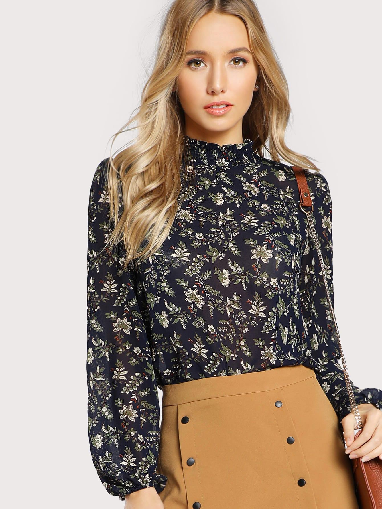 Купить Модная блуза с цветочным принтом, рукав-фонарик, Racquelle Lawrence, SheIn