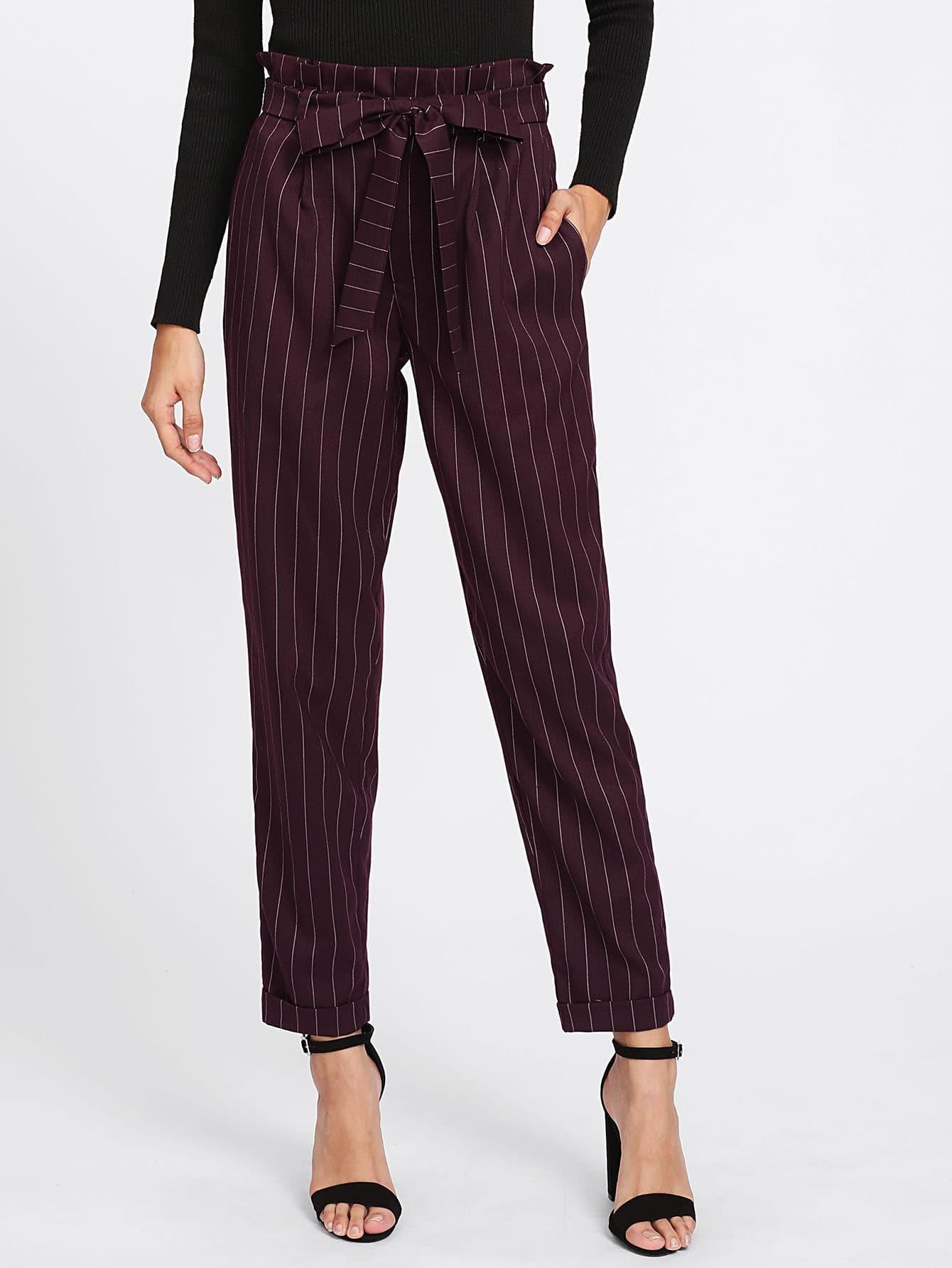 Tie Waist Cuffed Pinstripe Peg Pants ruffle waist belted peg pants