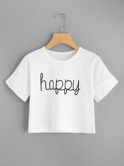 Camiseta corta con estampado de happy
