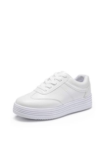 Flatform Lace Up PU Sneakers