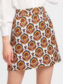 Ornate Print Textured Skirt
