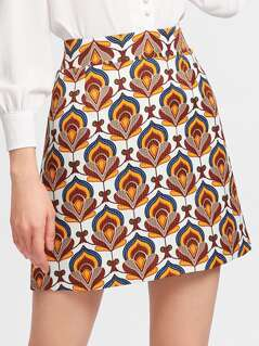 Ornate Print Textured Skirt