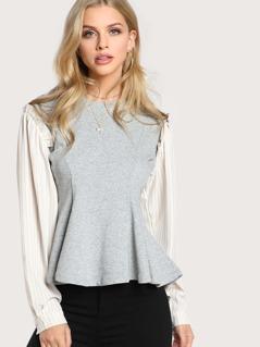 Contrast Sleeve Sweatshirt GREY