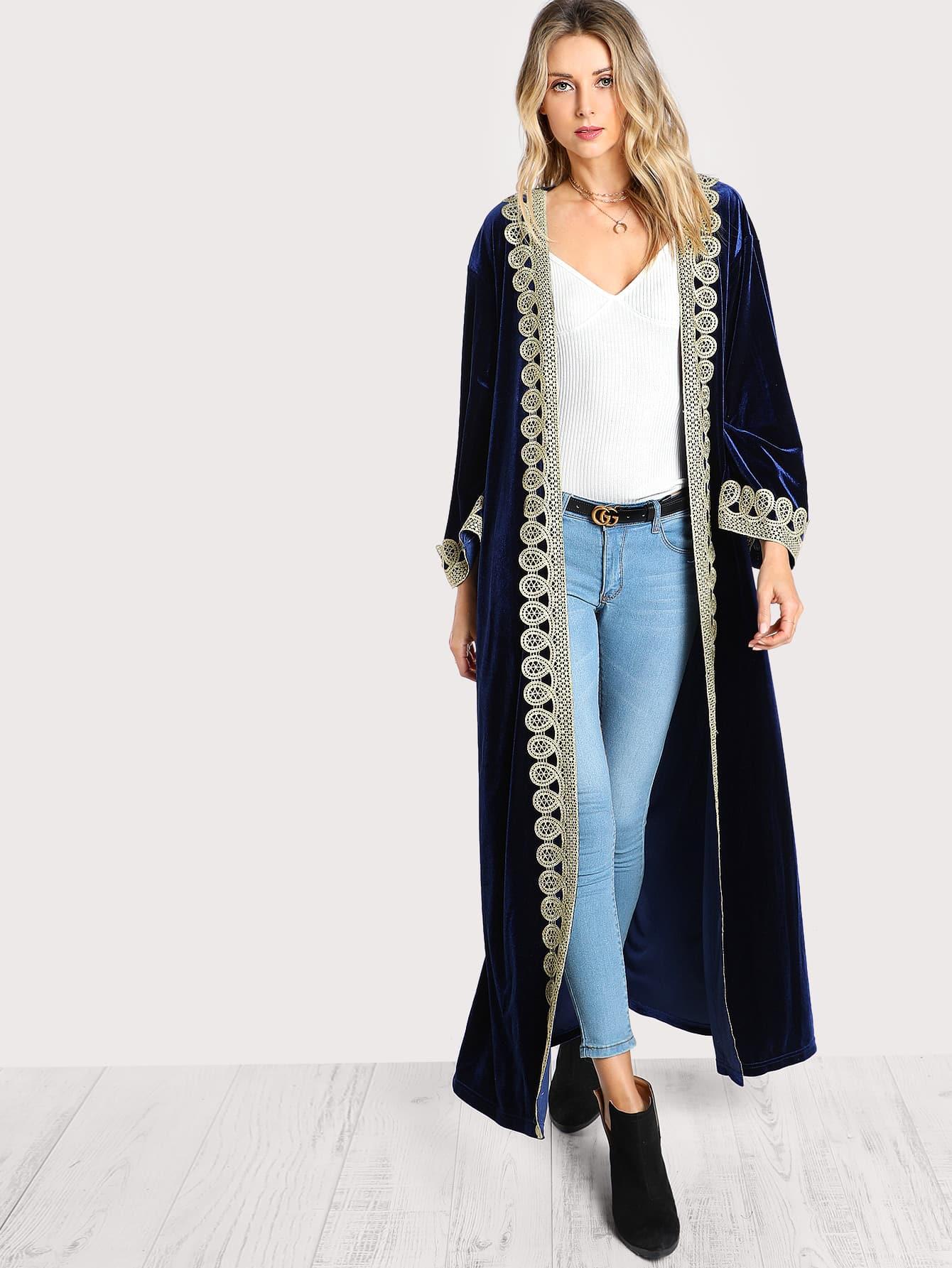 Contrast Trim Self Belted Velvet Abaya
