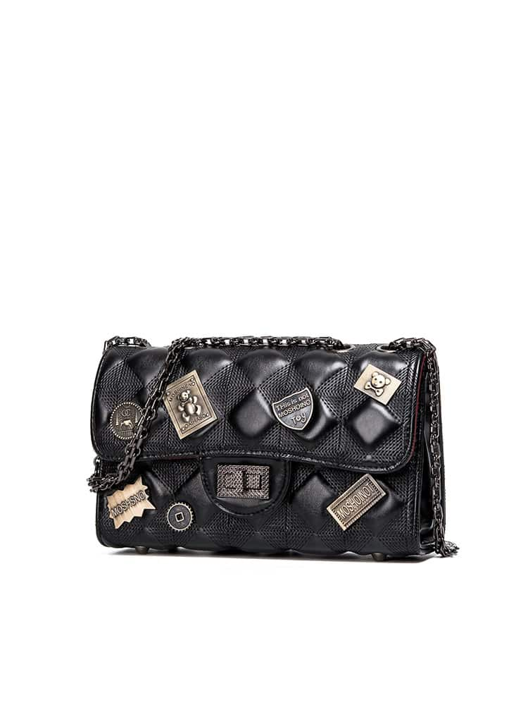 Metal Detail Quilted Chain Bag quilted metallic chain bag
