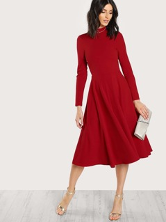 Mock Neck Button Keyhole Back Flare Dress