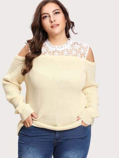 Guipure Lace Yoke Button Keyhole Sweater