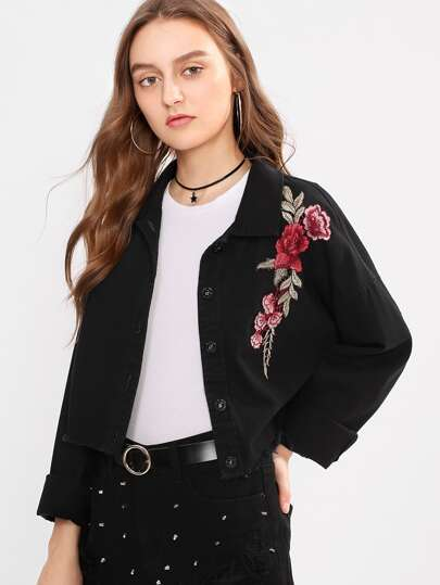 Embroidered Rose Patch Raw Cut Jacket