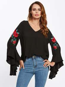 Flounce Sleeve Flower Embroidered Blouse