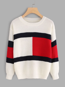 Drop Shoulder Color Block Knit Sweater
