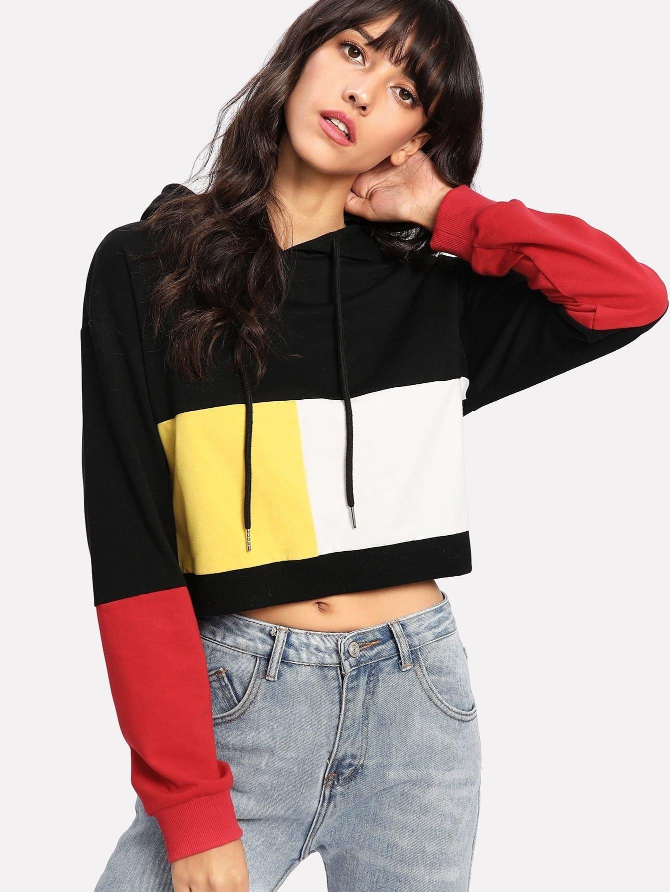 Купить Контрастный модный свитшот с капюшоном, Camila, SheIn