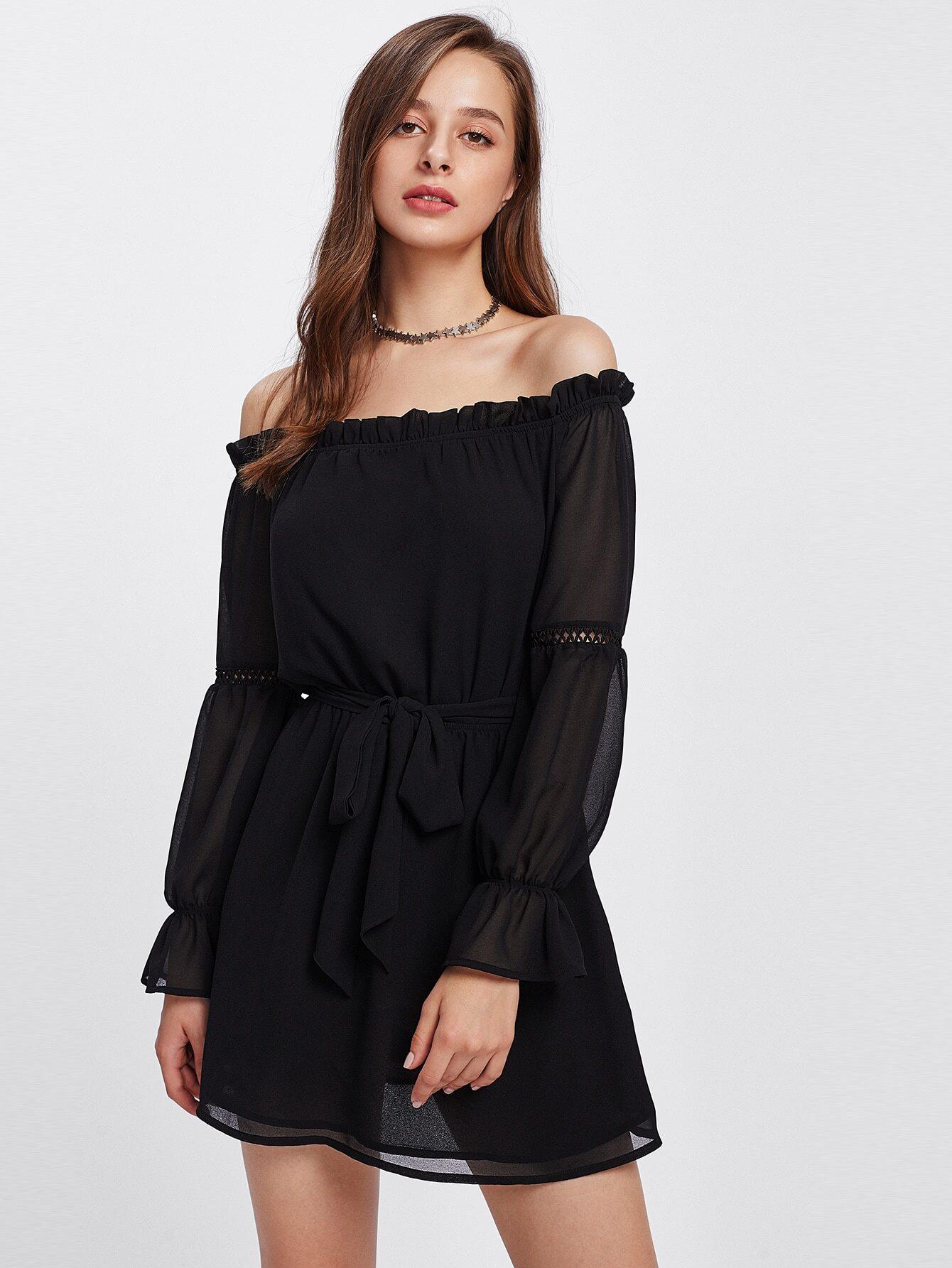 Laser Cut Insert Sleeve Frilled Detail Bardot Dress laser cut detail ruffle cuff dress