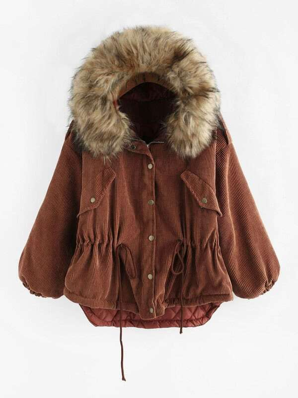 Faux Fur Hooded Drawstring Waist Dip Hem Jacket faux fur cuff drop shoulder raw hem sweatshirt