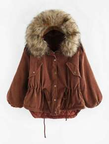 Faux Fur Hooded Drawstring Waist Dip Hem Jacket