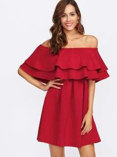 Layered Flounce Off Shoulder Dress