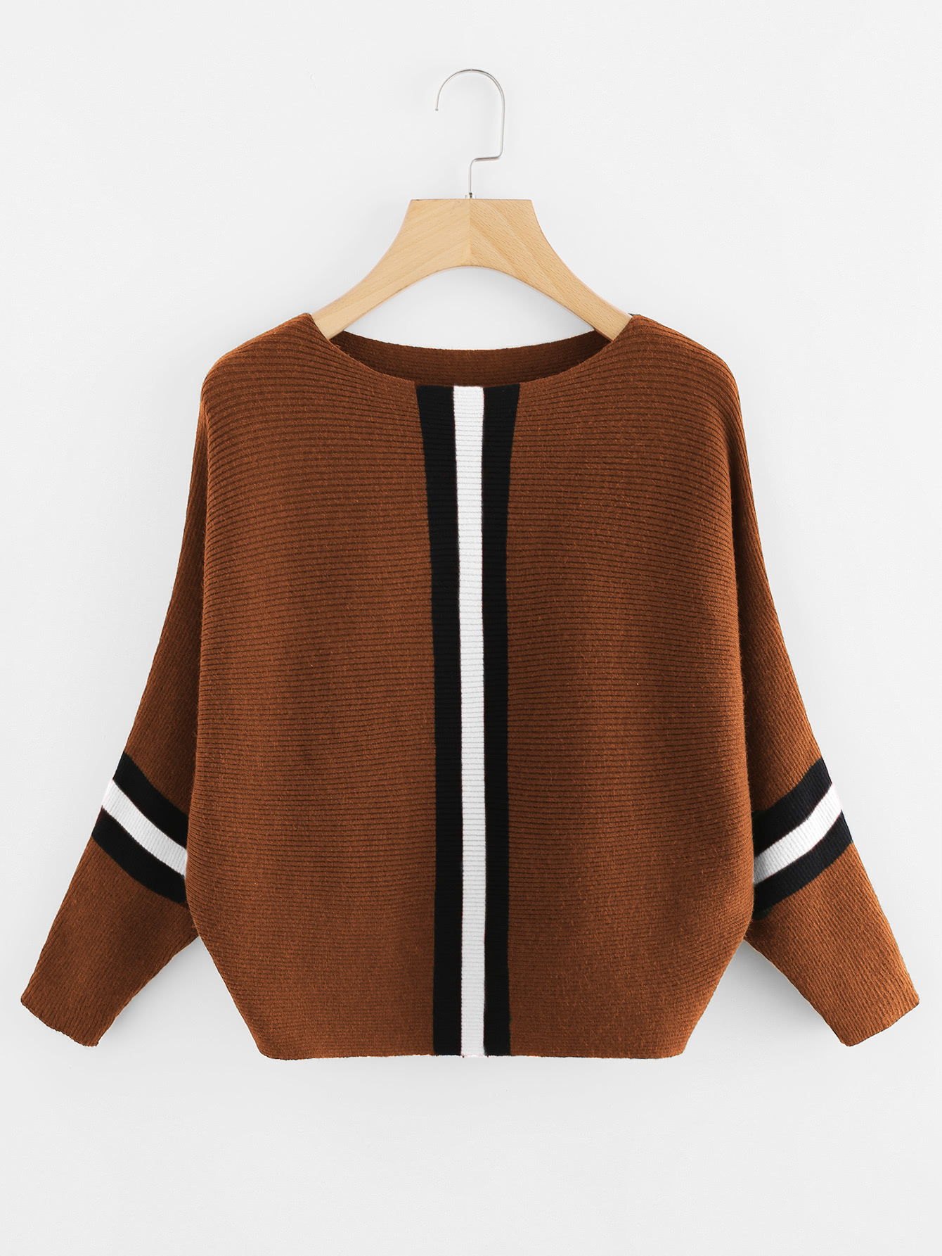 Contrast Striped Panel Ribbed Sweater sweater171106071