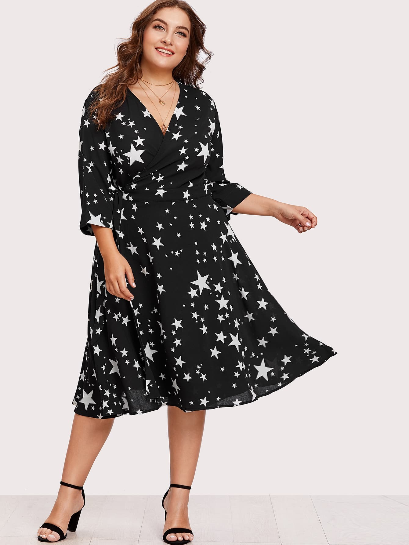Image of Allover Star Print Wrap Dress