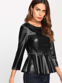 Studs Detail Faux Leather Peplum Top