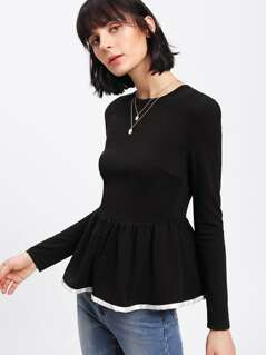 Contrast Binding Textured Peplum Top