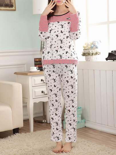 Stripe Panel Cat Print Tee & Pants Pj Set