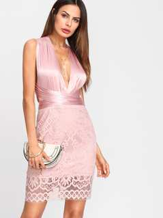 Lace Overlay Plunging Halter Dress