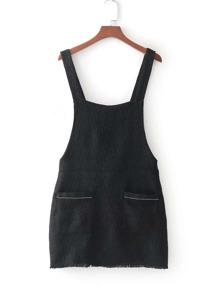 Raw Trim Pinafore Tweed Dress