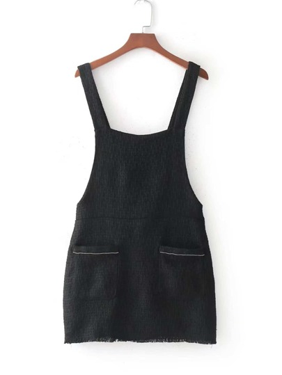 Raw Trim Pinafore Tweed Dress
