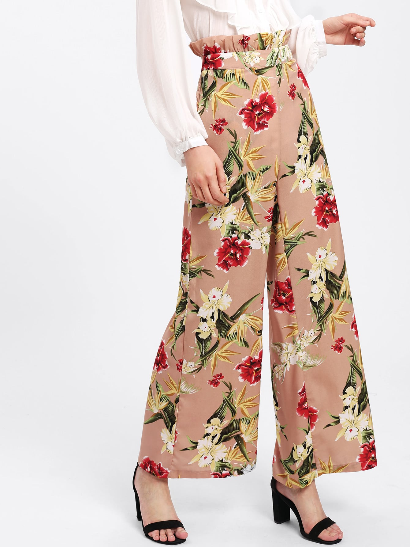 Frilled Waist Floral Palazzo Pants self tie waist palazzo pants