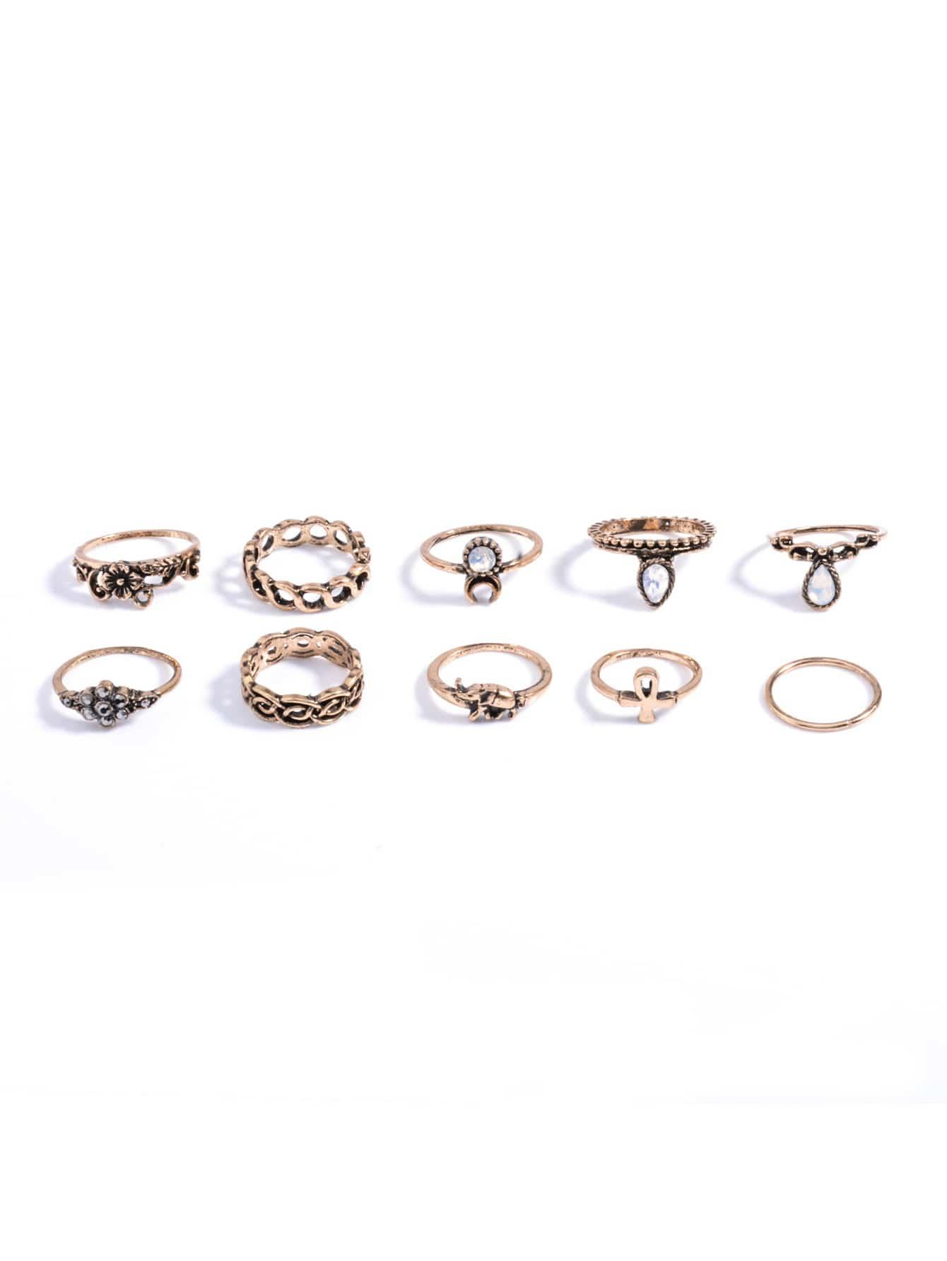 Rhinestone Ring Pack 10pcs