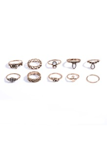 Rhinestone Ring Pack 10pcs