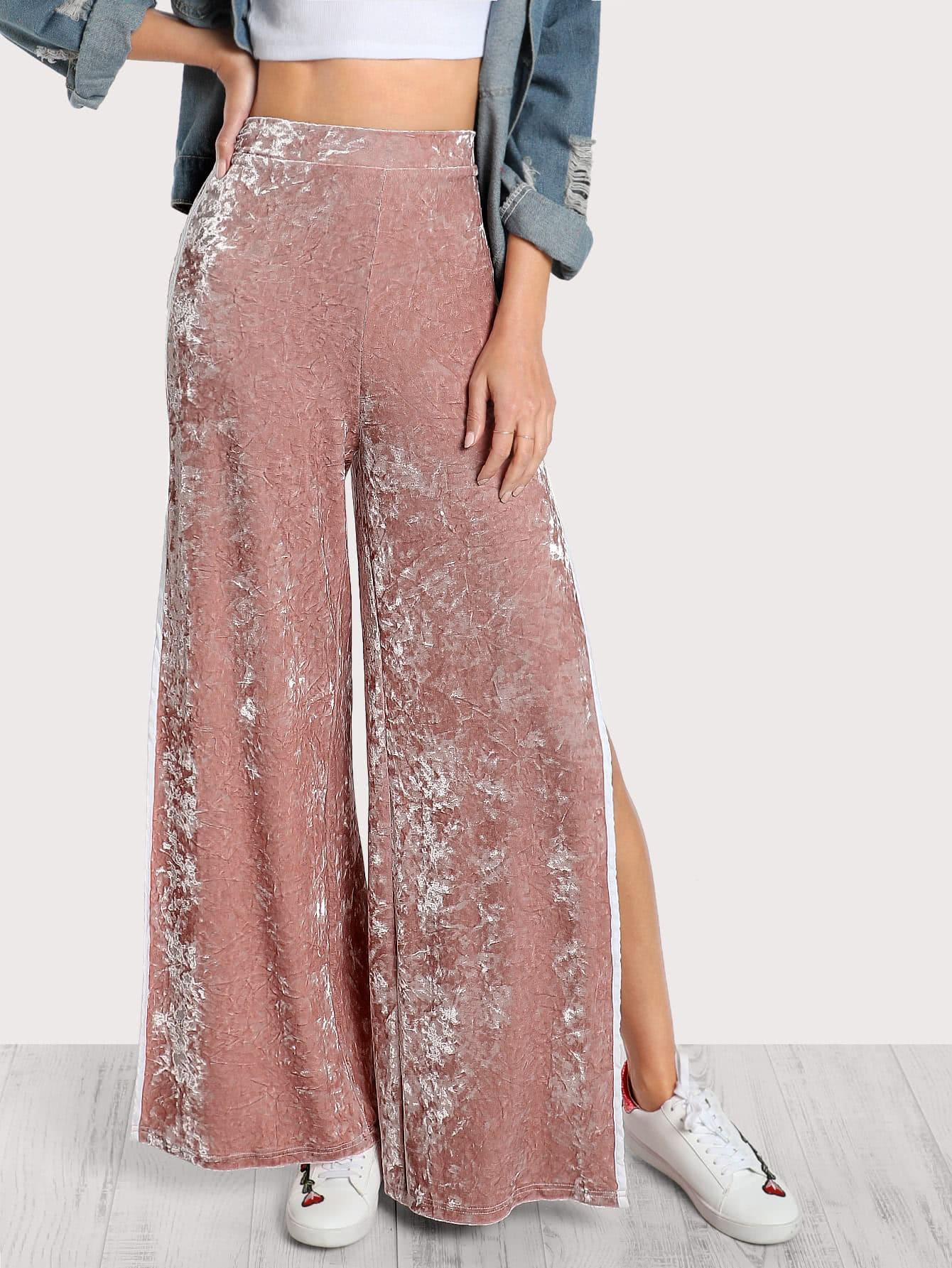 Elasticized Waist Velvet Pants elasticized waist velvet pants