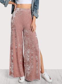 Elasticized Waist Velvet Pants
