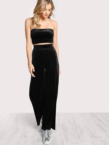 Velvet Tube Top and Matchig Pants Set BLACK