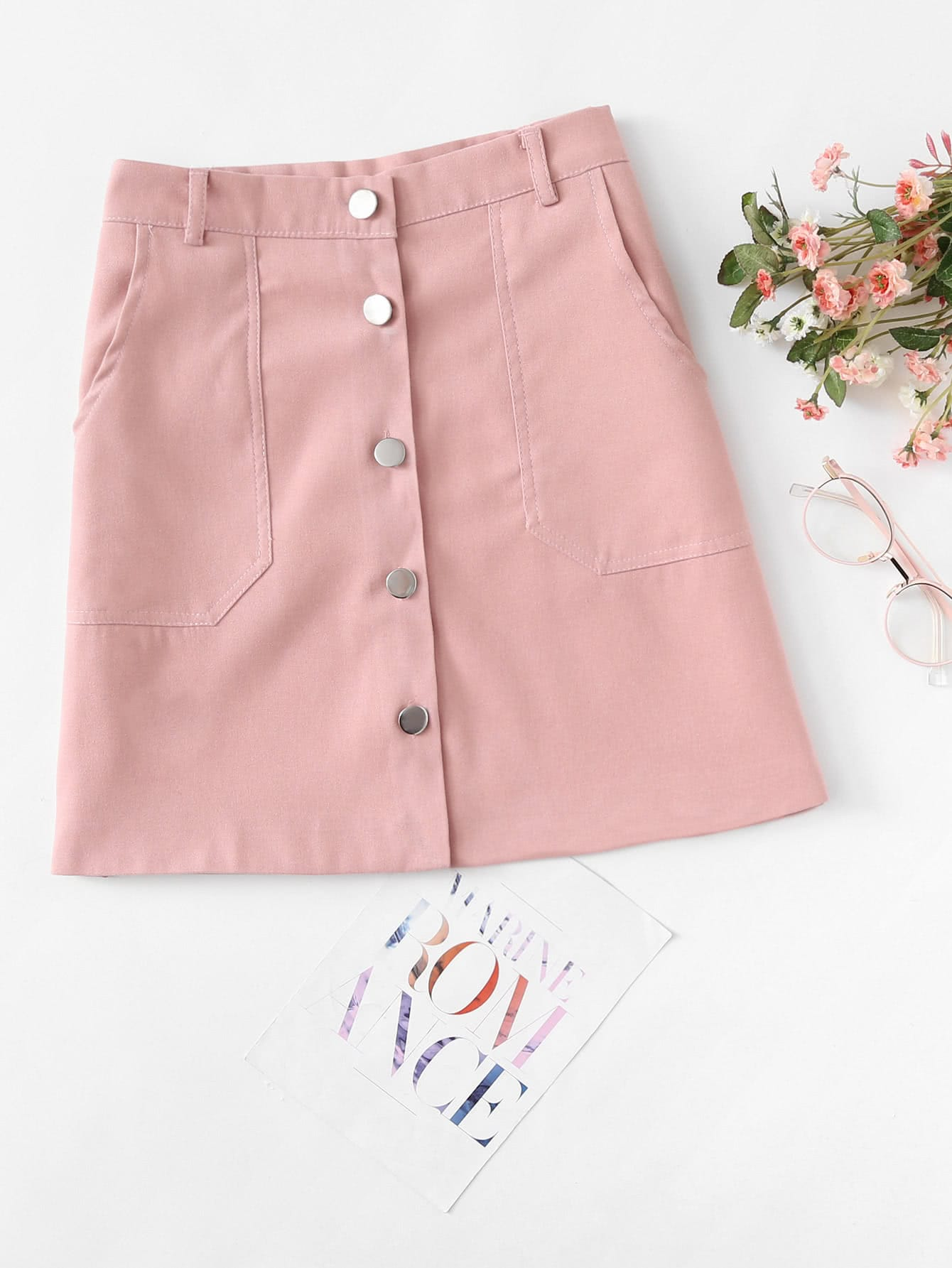 Single Breasted Dual Pocket Skirt