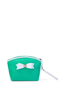 Bow Zipper Pouch With Wristlet