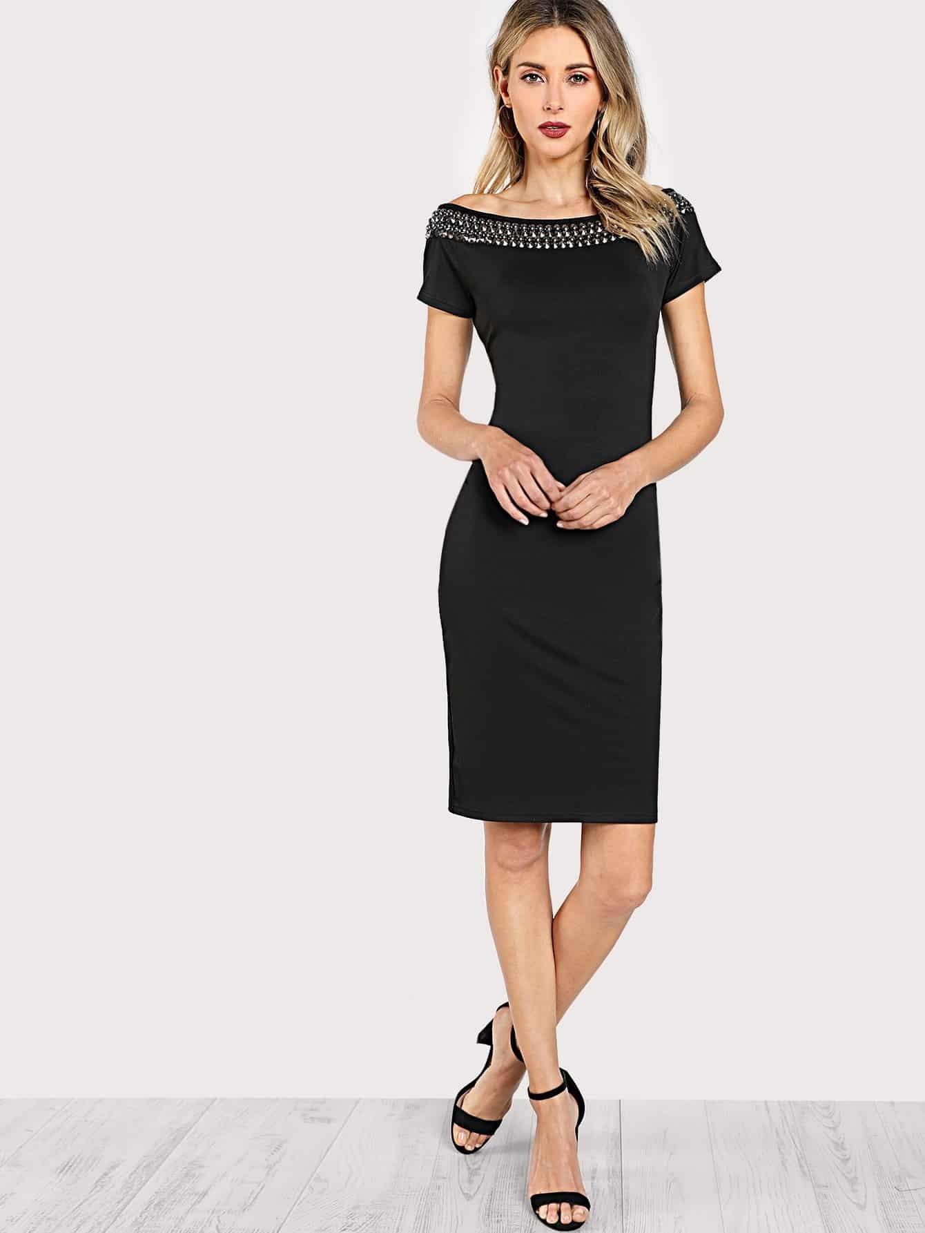 Studded Embellished Neck Form Fitting Dress metallic form fitting dress
